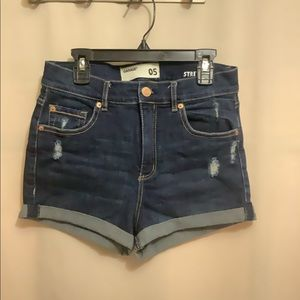 Garage retro high waist distressed denim shorts